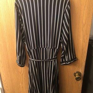 Knee length black & white shirt dress with pocket